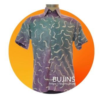 Men's Short Sleeves Cotton Batik Alphabet Design (M)