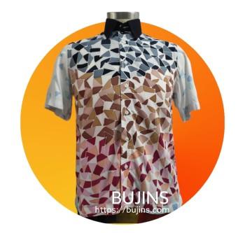 Men's Short Sleeves Cotton Batik Camouflage Design (M) - BUJINS