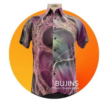 Men's Short Sleeves Cotton Batik Belantek Design (M)