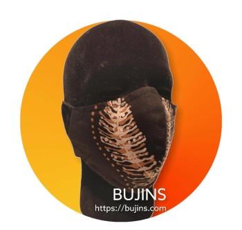 Bujins 3 Layer Cotton Batik Face Mask - Black Brown