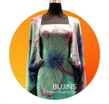 Premium Crepe Fabric Batik Binary Hibiscus Design - 4.35M