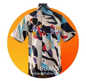 Men's Short Sleeves Cotton Batik Camouflage Design (S)