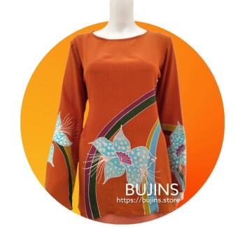 Crepe Batik Ladies Top Floral Jalinan Design (M)