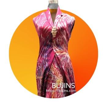 Premium Satin Fabric Batik Butterflies Design 4.47M