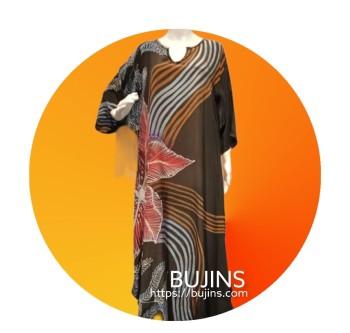 Premium Crepe Kaftan Ladies Batik Floral Stripes Design (L/XL)