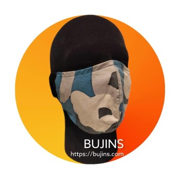 2 Layers Cotton Batik Earloop Face Mask - Camouflage - BUJINS