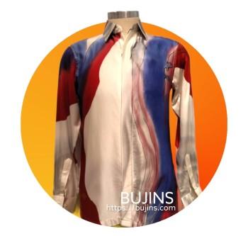 Men's Long Sleeves Satin Batik Jalinan Design (M)