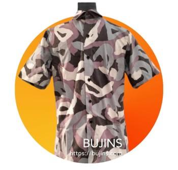 Men's Short Sleeves Cotton Batik Camouflage Design (XS)