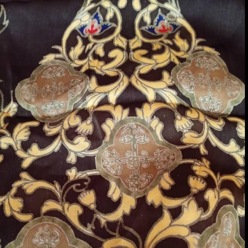Premium Satin Fabric Batik Floral Mushaf Gold Design 3.15M
