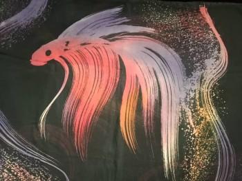 Chiffon Fabric Batik Gold Fish Design 2.5M