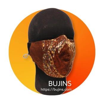 Bujins 3 Layer Cotton Batik Face Mask - Brown