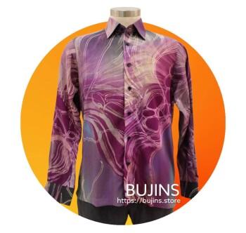 Men's Long Sleeves Cotton Batik Belantek Design (L)