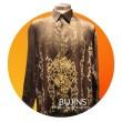 Men's Long Sleeves Premium Satin Batik Mushaf Gold Design (XL) - BUJINS