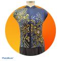 Premium Satin Fabric Batik Floral Mushaf Blue Design - 2.90M - BUJINS Batik