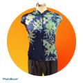 Premium Satin Fabric Batik Floral Mushaf Blue Design - 3M - BUJINS Batik