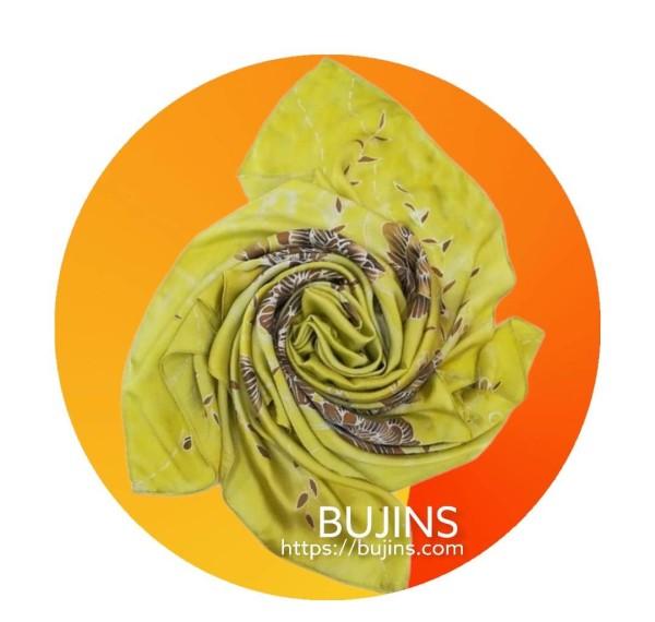 100% Pure Silk Batik Scarf - Royal Yellow - BUJINS