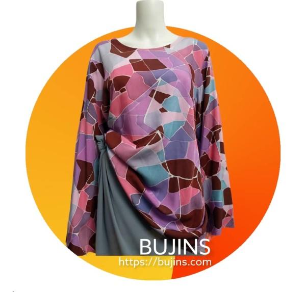 Basic Cotton Batik Demure Ladies Top Prism Design (M) - BUJINS