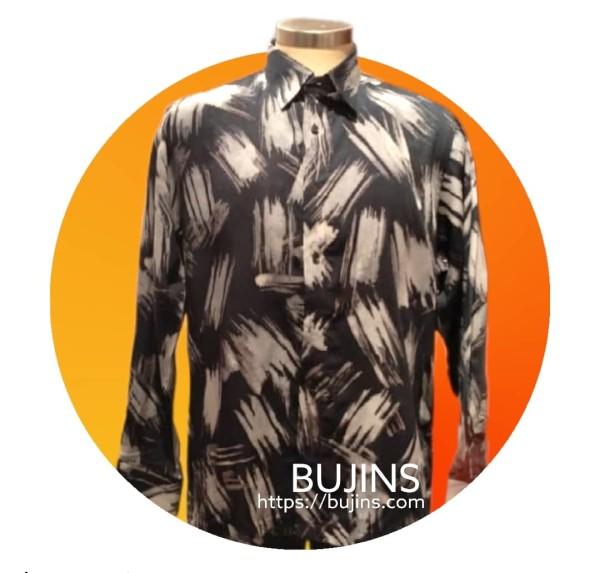 Men's Long Sleeves Cotton Batik Brush Design (XL) - BUJINS