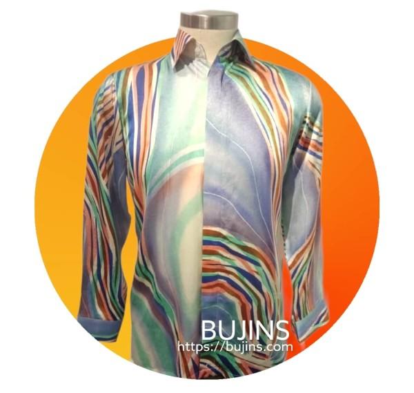Men's Long Sleeves Premium Satin Batik Pendekar Design (S) - BUJINS