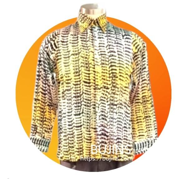 Men's Long Sleeves Batik Betta Fish Scales Design (M) - BUJINS