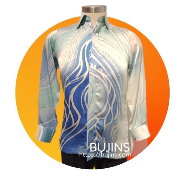 Men's Long Sleeves Premium Satin Batik Jalinan Design (S) - BUJINS