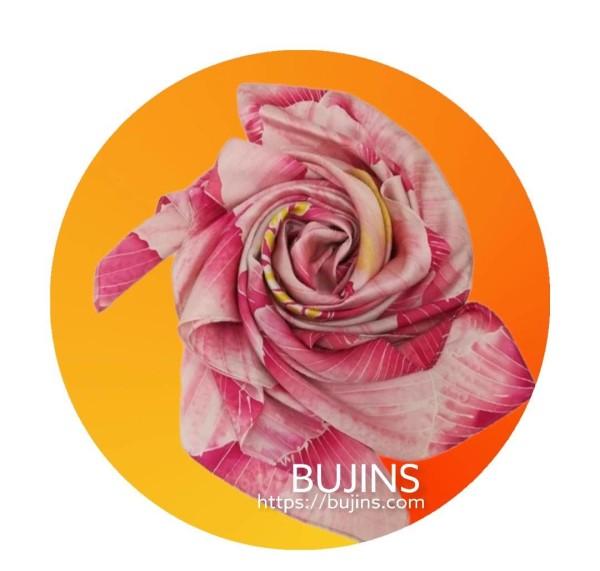 100% Pure Silk Batik Scarf  - Raspberry - BUJINS Batik