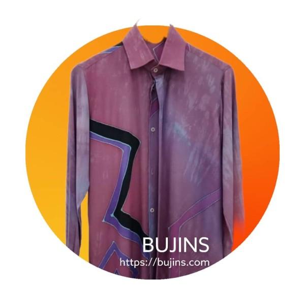 Men's Long Sleeves Cotton Batik Jalinan Design (M) - BUJINS
