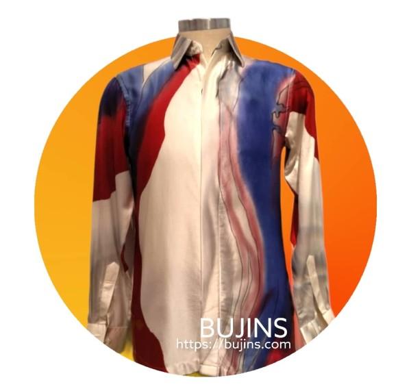 Men's Long Sleeves Satin Batik Jalinan Design (M) - BUJINS