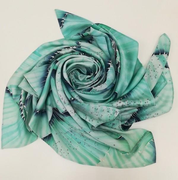 100% Pure Silk Batik Scarf  - Green Jade - BUJINS Batik
