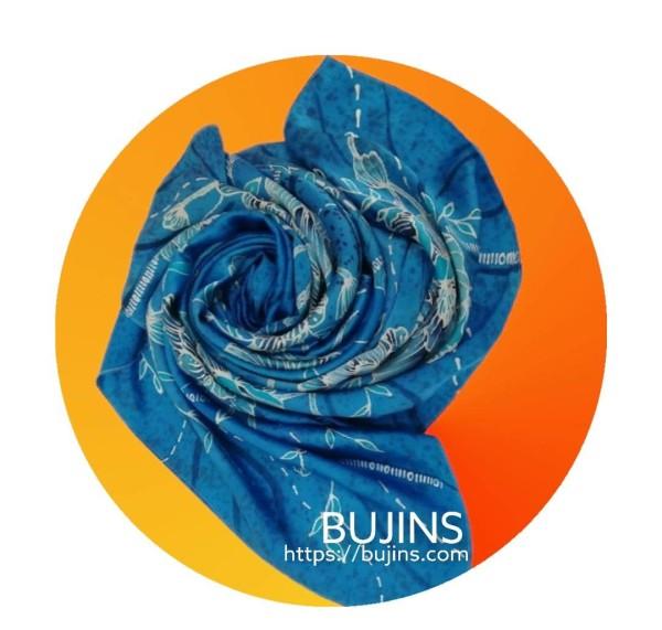 100% Pure Silk Batik Scarf - Sapphire - BUJINS