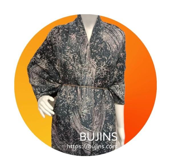 Premium Crepe Fabric Batik Floral Stripes Design 4.1M - BUJINS