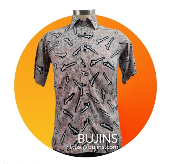 Men's Short Sleeves Cotton Batik Pendekar Design (M) - BUJINS