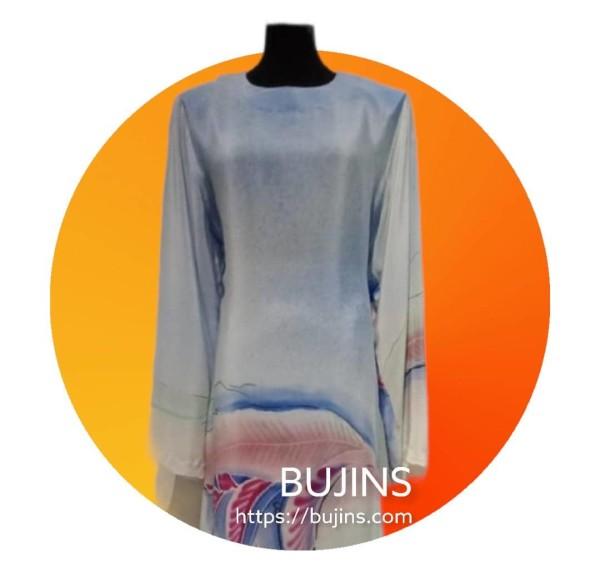 Crepe Batik Baju Kurung Classic Heliconia Design (L) - BUJINS