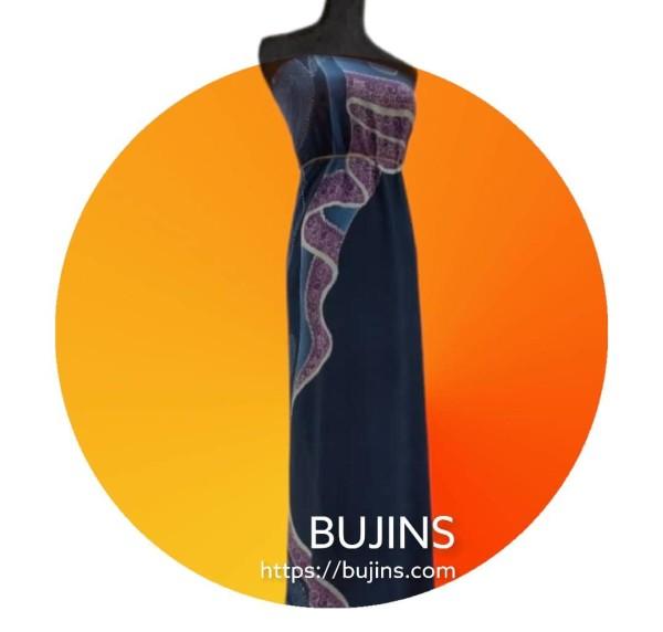 Premium Crepe Fabric Batik Che Siti Wan Kembang (Series II) - Dark Blue Fabric 2.5M - BUJINS Batik