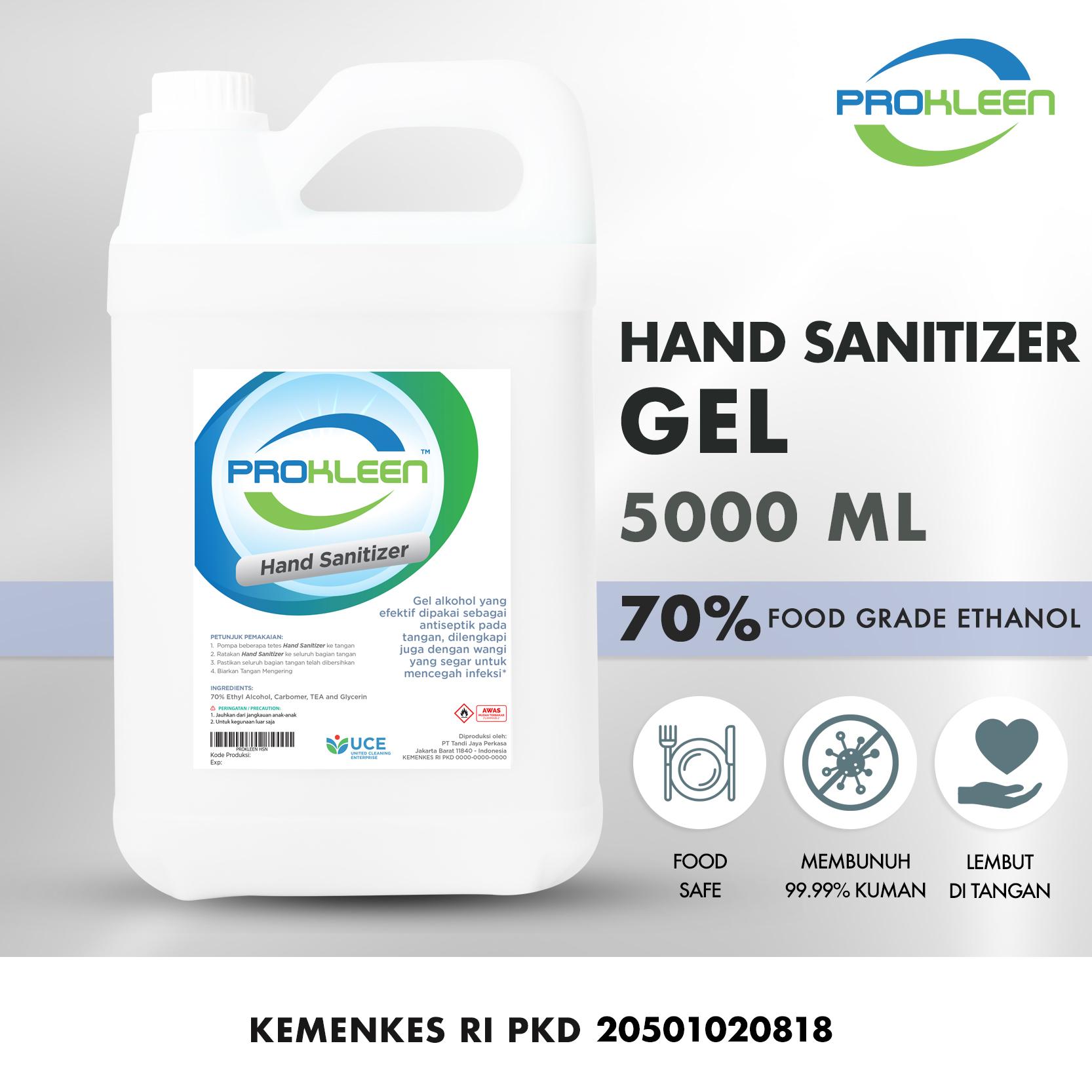 Hand Sanitizer 70% Antiseptic Gel Antiseptik PROKLEEN 5L