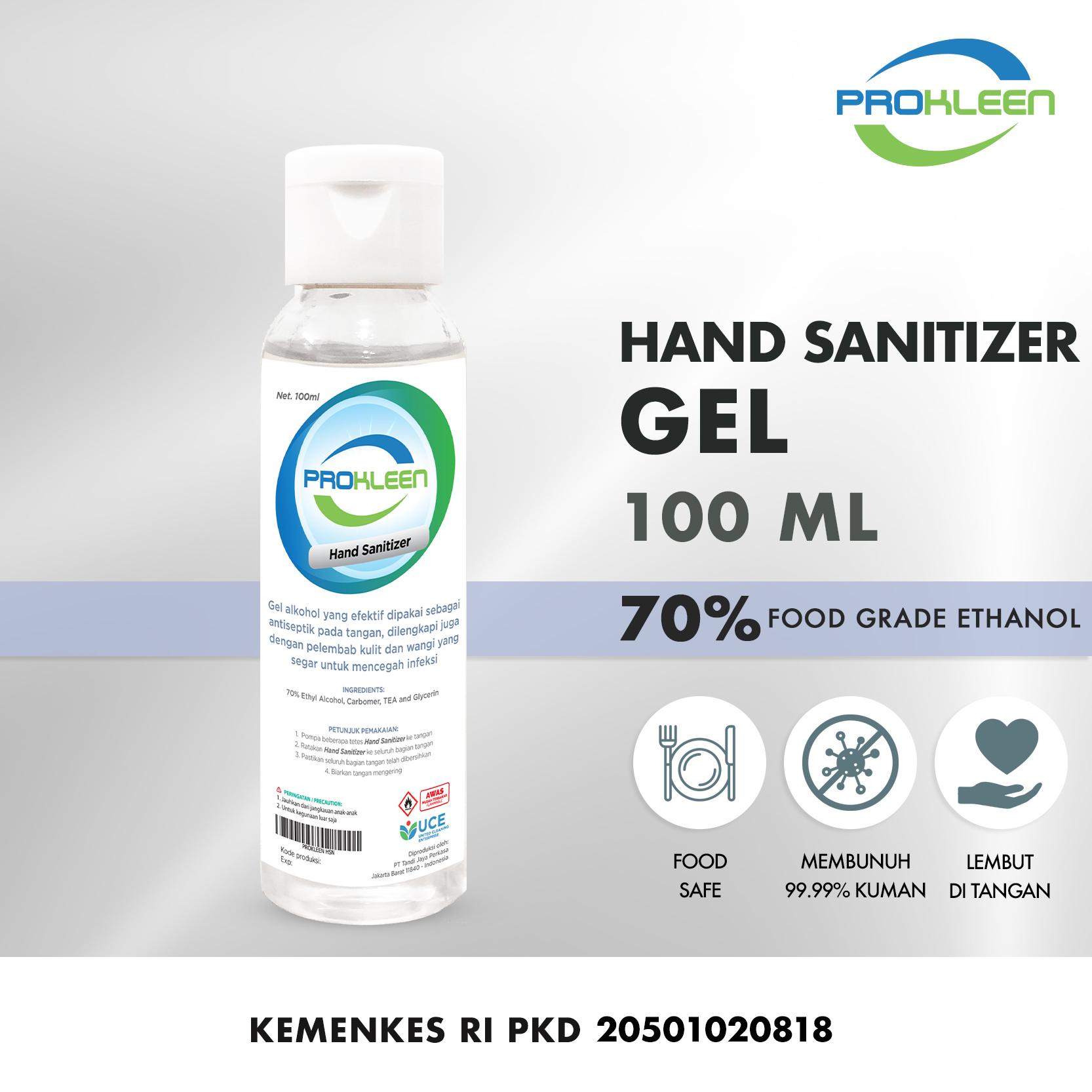 Hand Sanitizer 70% Antiseptic Gel  Food Grade PROKLEEN 100mL