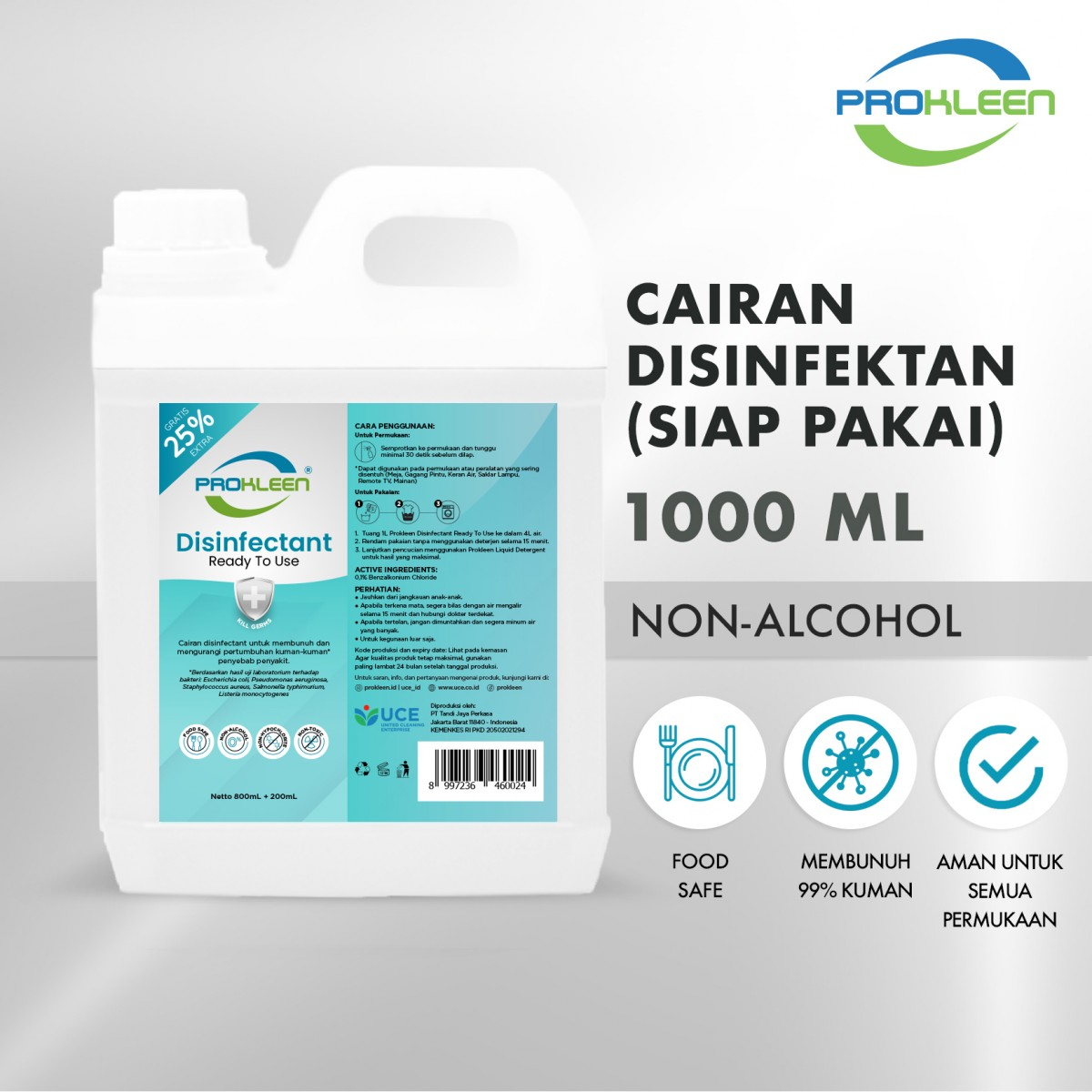 Disinfectant Ready To Use PROKLEEN 1 Liter - United Cleaning Enterprise