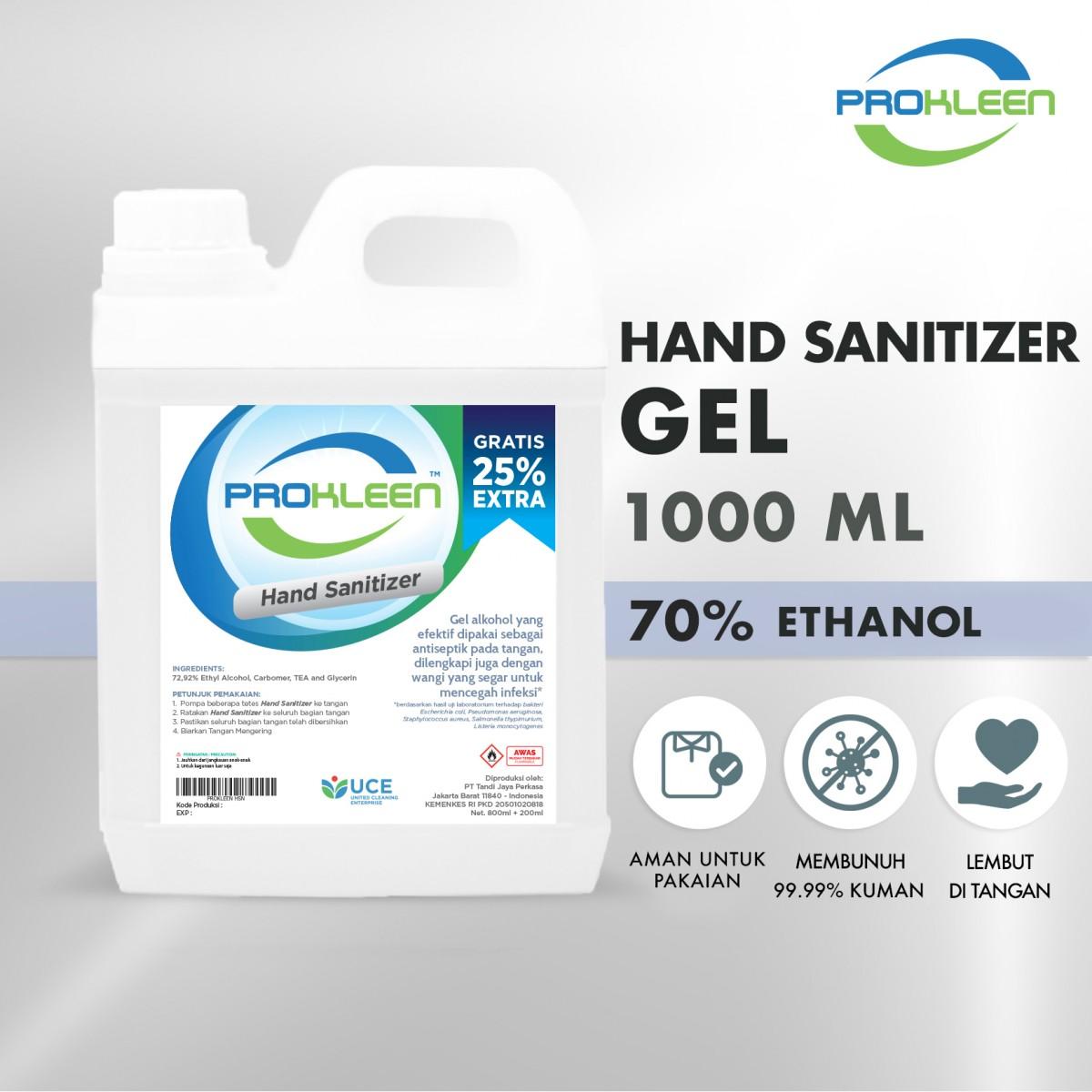 Hand Sanitizer GEL 70%  PROKLEEN 1L NON FOOD GRADE - United Cleaning Enterprise