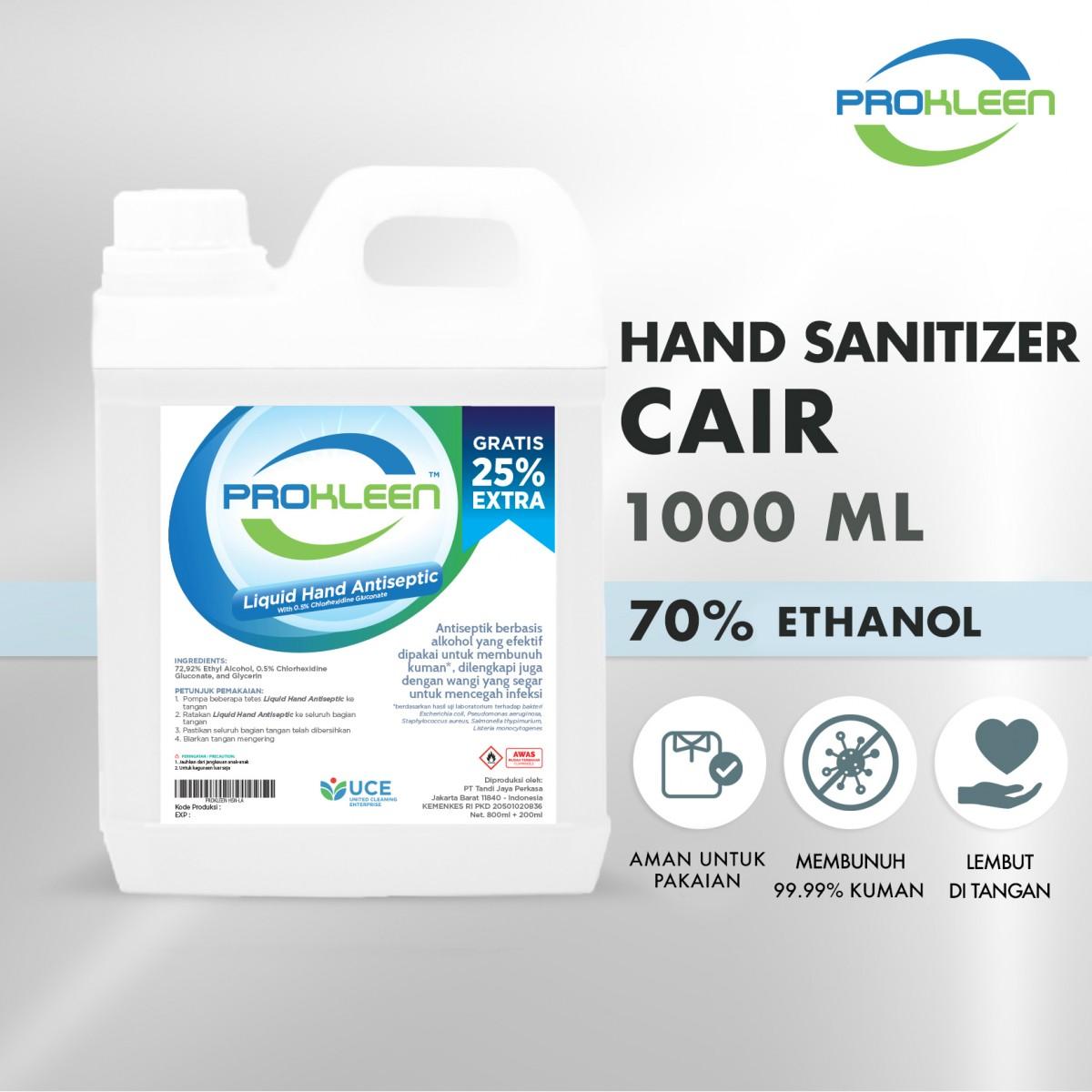 Hand Sanitizer CAIR 70% Food Grade PROKLEEN 1000mL NON FOOD GRADE - United Cleaning Enterprise