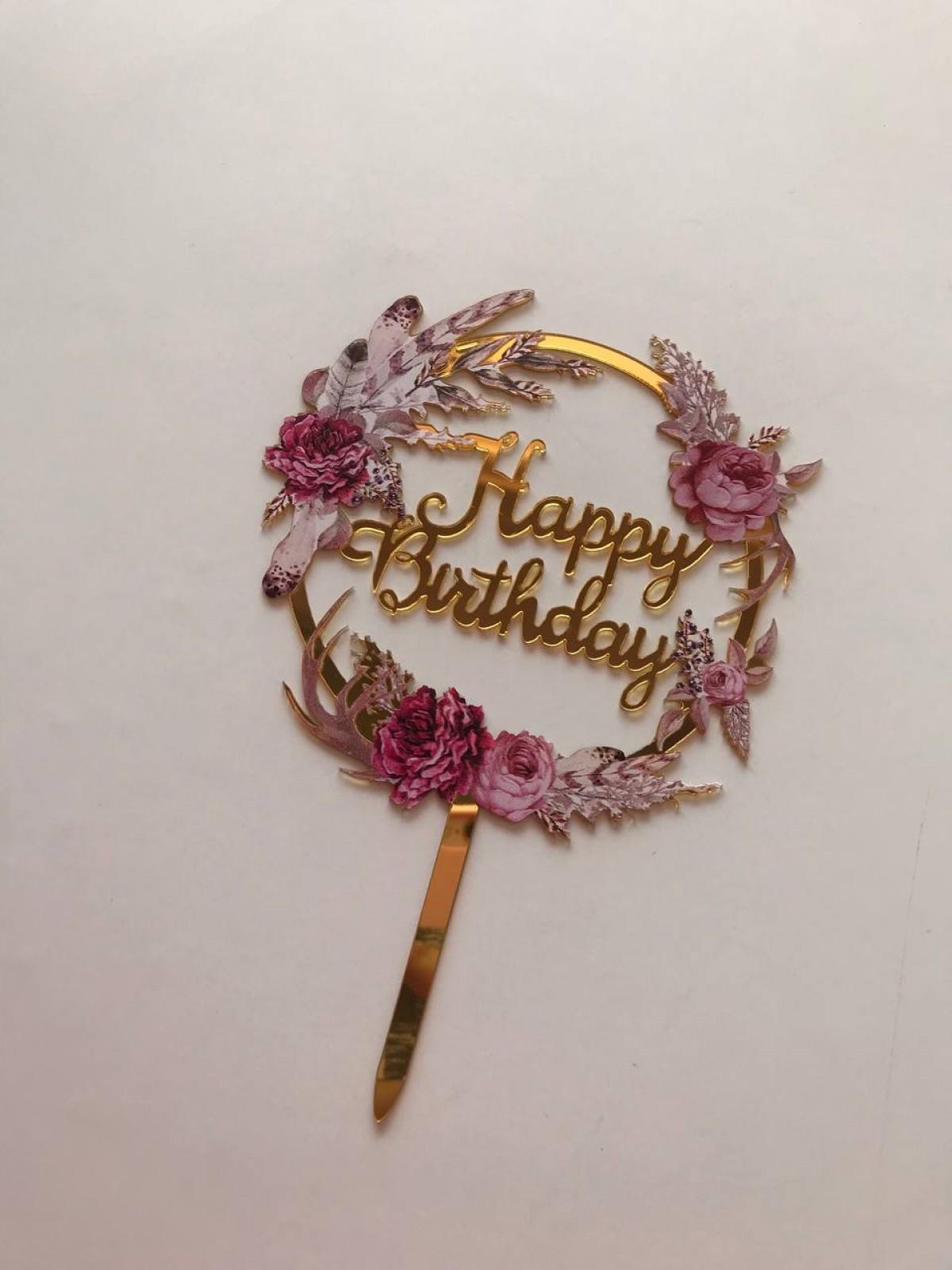 TOPPER FLOWER HAPPY BIRTHDAY (PINK) - RARA KITCHY