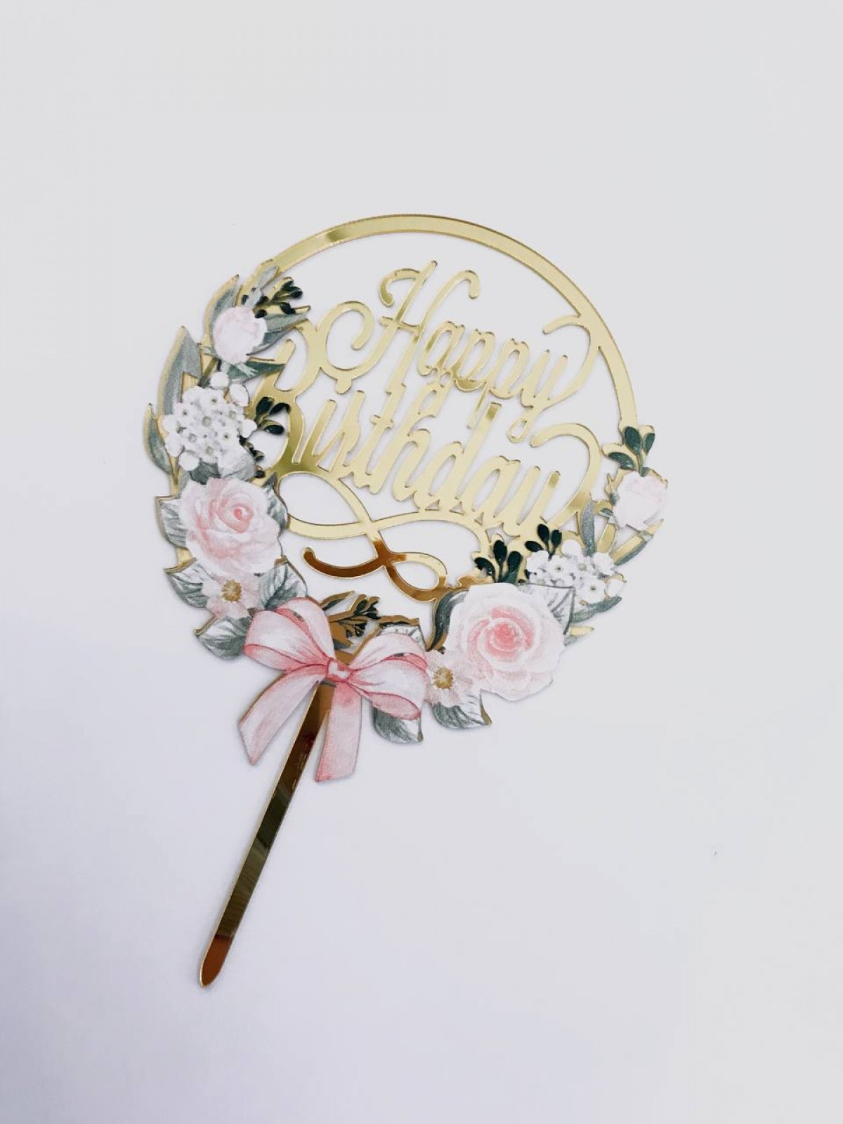 TOPPER HAPPY BIRTHDAY (SOFT PINK FLOWERS) - RARA KITCHY