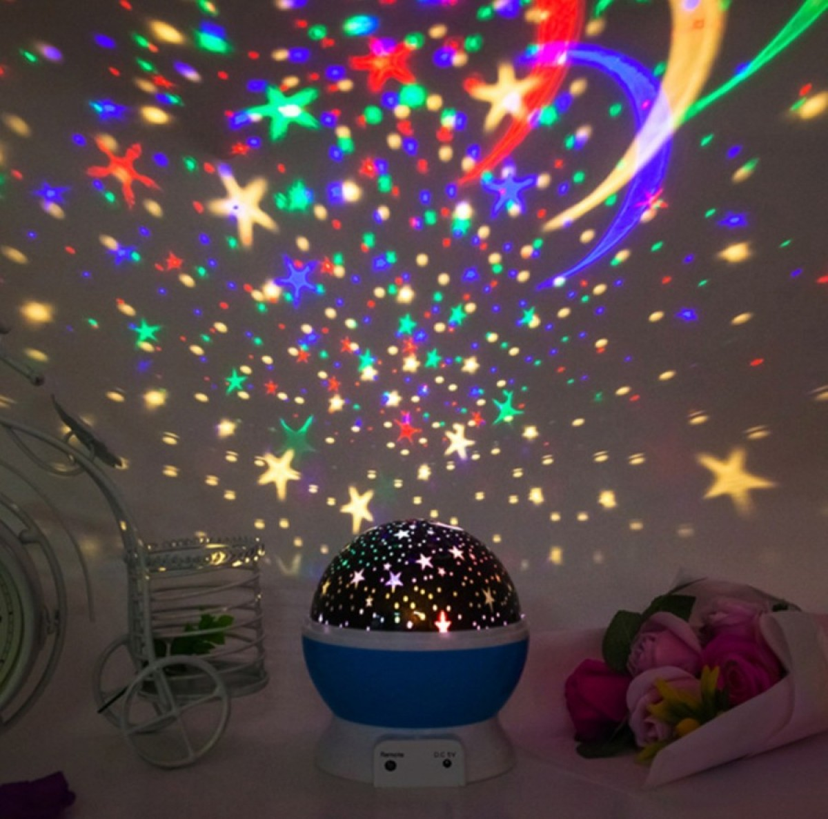 Lampu tidur proyektor Bulat 1027a motif bulan bintang Dream - Bunda Ina Shop