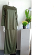 BAJU KURUNG SATIN - OLIVE GREEN - Aiman Collection