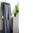 BAJU KURUNG SATIN - GREY - Aiman Collection