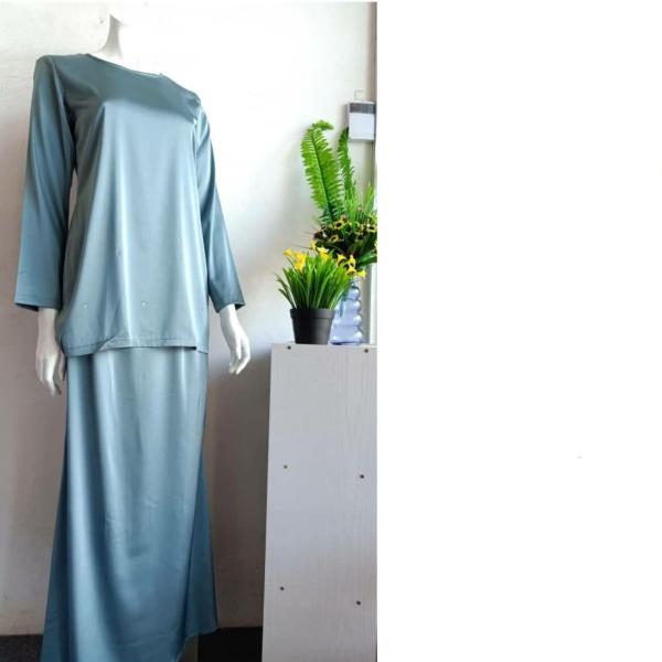 BAJU KURUNG SATIN - TEAL BLUE - Aiman Collection