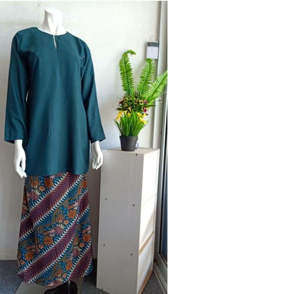 BAJU KURUNG PLAIN SKIRT BATIK- GREEN - Aiman Collection