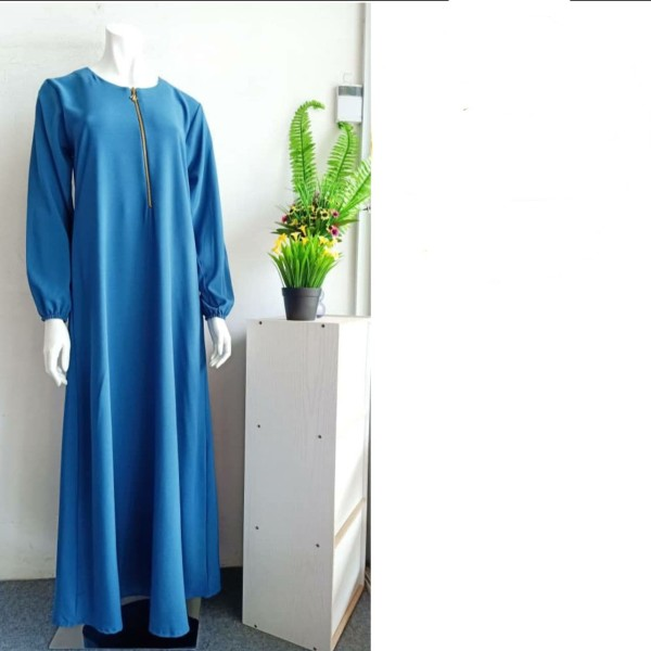JUBAH PLAIN COMOCREPE - TEAL BLUE - Aiman Collection
