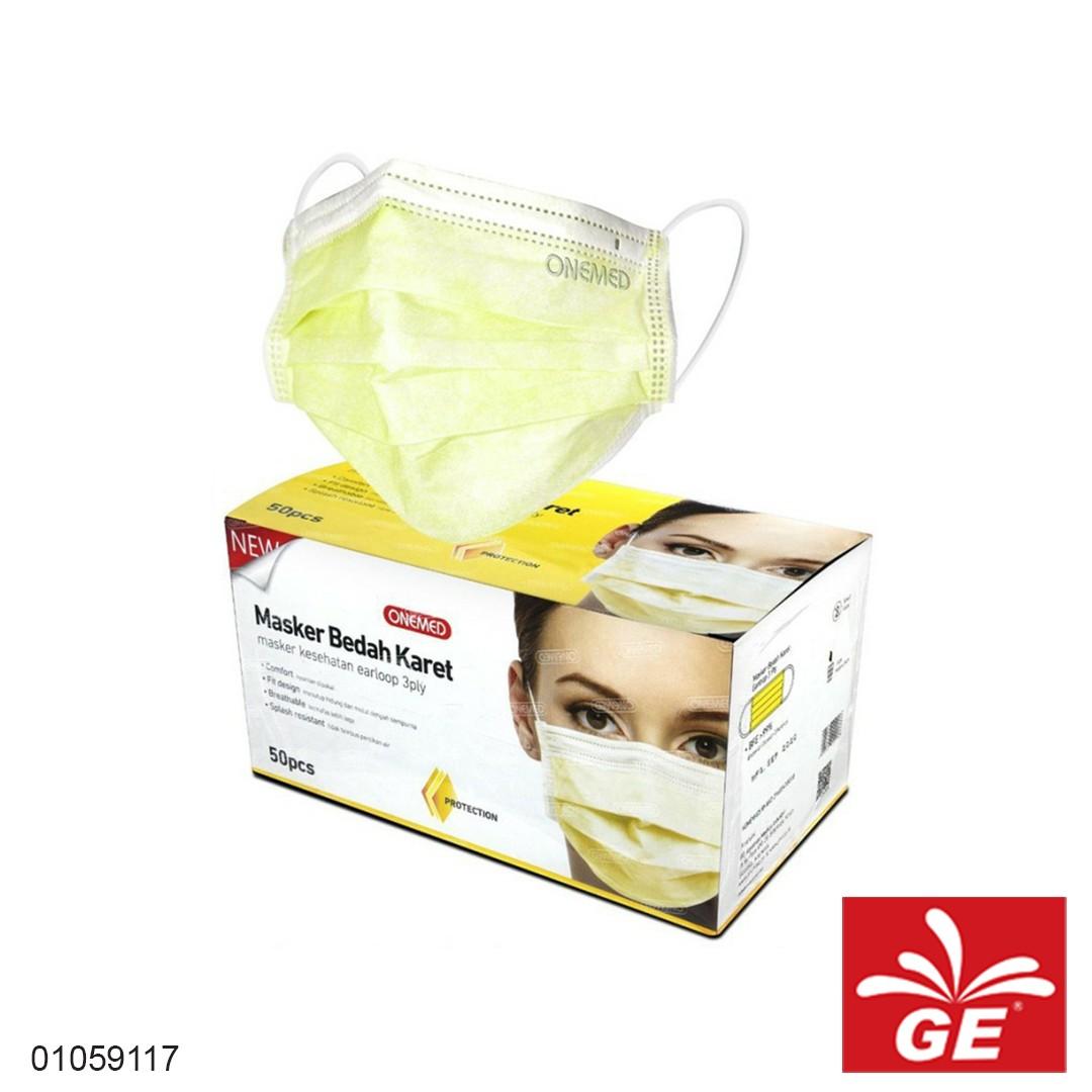 Masker Bedah Karet ONEMED Kuning 50pcs 01059117
