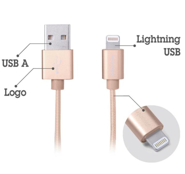 Kabel Data AVANTREE TR185 Braided Lightning 1M Emas 05015596