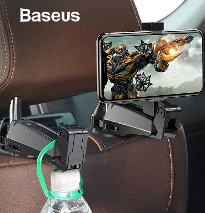 Holder Jepit BASEUS Backseat Car Mount Hook 2in1 Hitam 40001417